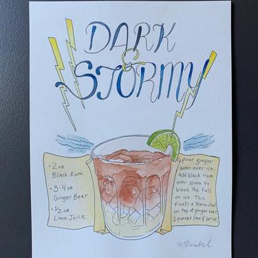 Dark and Stormy Recipe Original Watercolor Painting