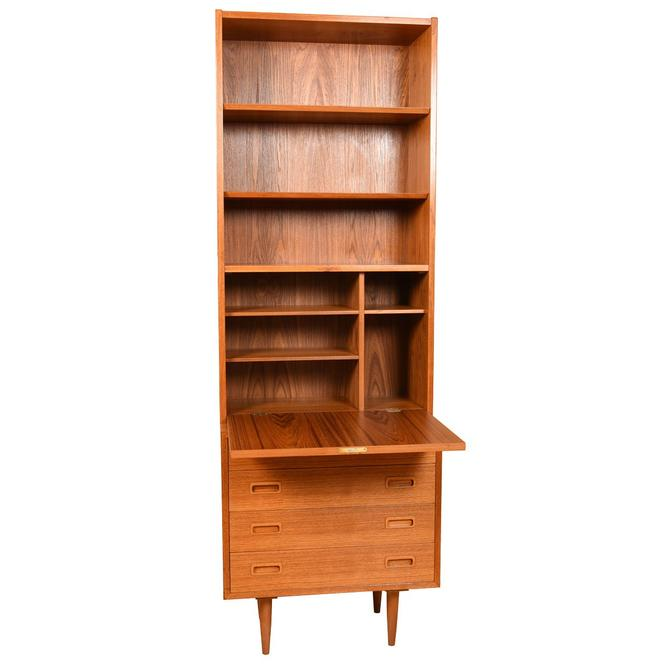 Studio-Sized Teak Mini-Dresser Secretary w/ Locking Bookcase Top