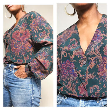 Vintage 1980s 1990s 90s Silk Blouse Top Shirt Button Up Patterned Print Floral Paisley Green V Neck Long Sleeve Oversized by KeepersVintage