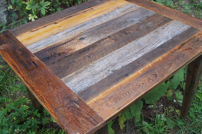 Weathered Gray Barn Wood Kitchen Table by BarnWoodFurniture