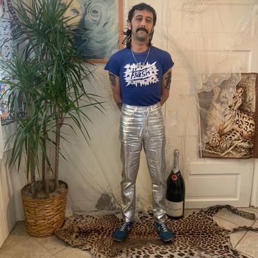 90's METALLIC SILVER PANTS  - high-waisted - slim leg - x/xs by GlamItToHell