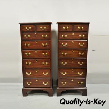 Henkel Harris Chippendale Solid Mahogany 7 Drawer Lingerie Tall Chest - a Pair