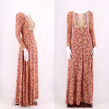 70s floral print fantasy maxi dress S / vintage 1970s embroidered front peasant festival gown sz S by ritualvintage