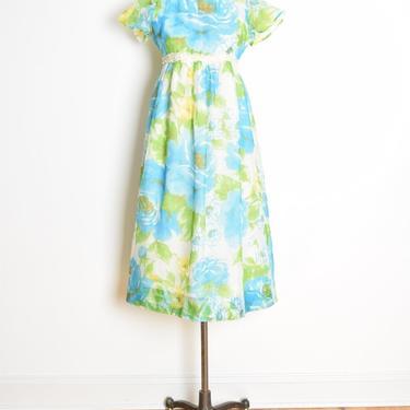 vintage 60s dress watercolor floral print babydoll empire waist long dress XS clothing by huncamuncavintage