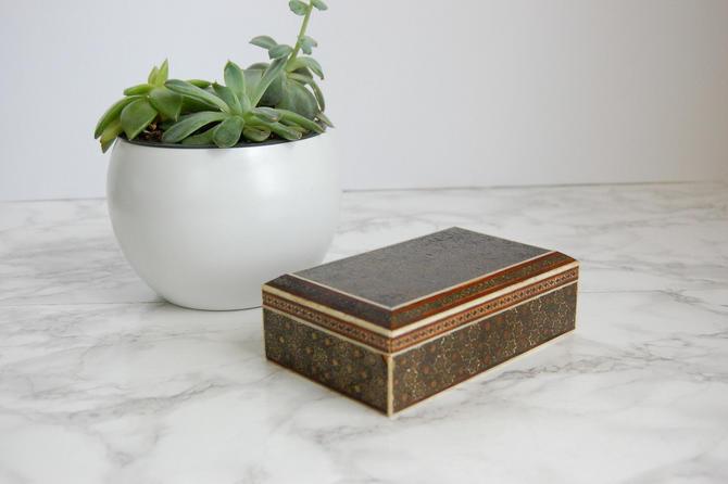 Decorative Inlay Wood Box Rectanble Wood Lidded Box Jewelry Box Mid Eastern Decor by PursuingVintage1