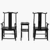 Chinese Traditional Tan Wood Yoke-Back Armchair Set w Small Table cs5071S