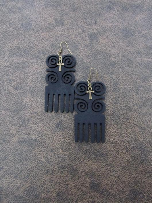 Afro comb earrings, adinkra earrings, wooden earrings, Afrocentric African earrings, bold statement earrings, tribal wood earrings, black 5 by Afrocasian