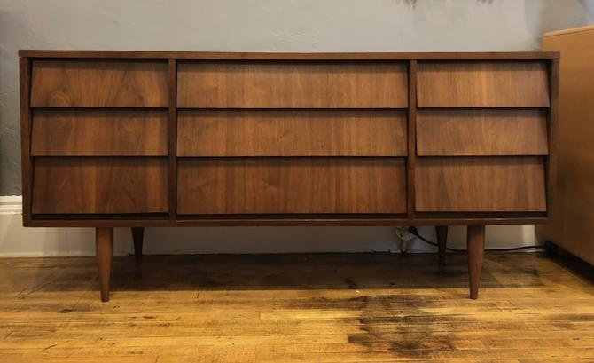 Mid Century Walnut Lowboy Dresser 1950's