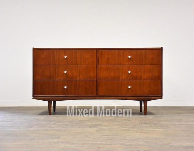 Walnut & Chrome Long Dresser by mixedmodern1
