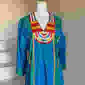 Fab 1980s Caftan Cotton Ethnic Embroidery Ribbon Indian Vintage by AmalgamatedShop