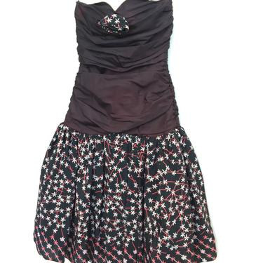 Vintage 80's ZANDRA RHODES Strapless Cocktail Party Black Dress with Floral Skirt SZ 10 by vaniageneralstore