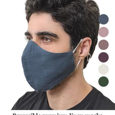 Large face masks for men, Reversible linen face masks adjustable, Formal dressy masks for engagement, Solid color face mask Dusty Pink Mauve by APattesDeVelours