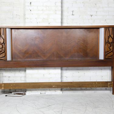 Vintage mcm brutalist style king headboard with sculptural details and nightlights | Free delivery in NYC and Hudson Valley areas by OmasaProjects