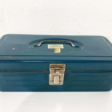Vintage Blue Metal Tackle Tool Box Rustic Industrial Parts Organizer Storage Portable Metal Container Crafts Handle Union Chests Toolbox by CheckEngineVintage