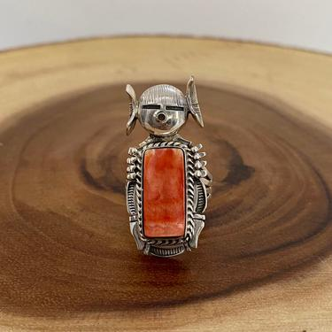 SUNNY DAYS Kachina Silver and Spiny Oyster Ring | Navajo, Native American Southwestern Jewelry | Large Statement Ring | Size 9 by lovestreetsf