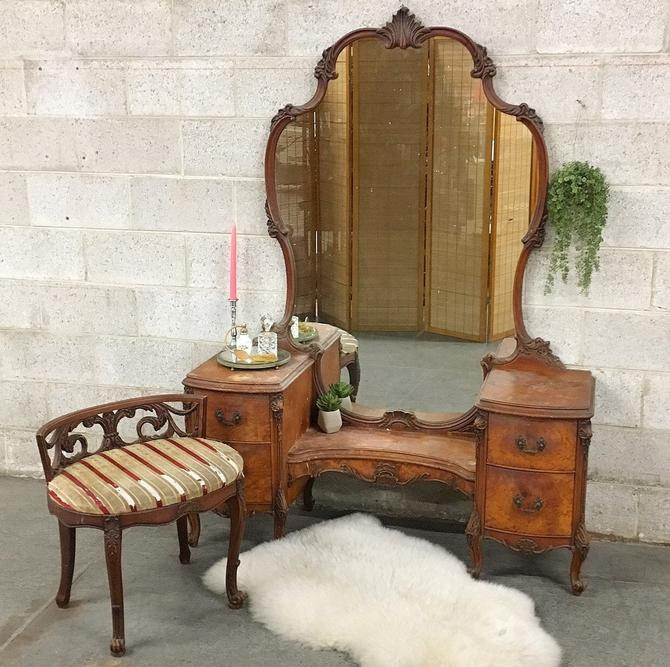 LOCAL PICKUP ONLY ———— Vintage Mirrored Vanity by RetrospectVintage215