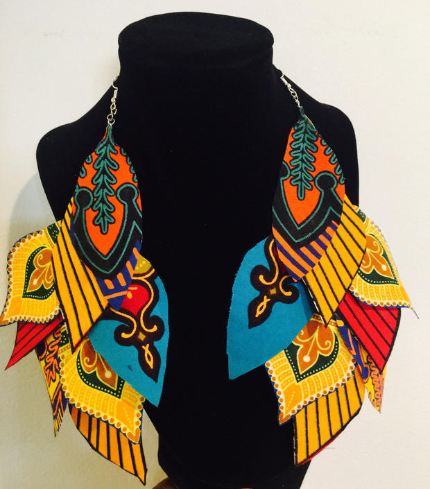 Adire/Ankara multi-colored Prints feathers earrings by PriscArts