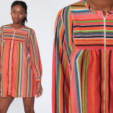 Terry Cloth Dress Boho Mini Rainbow Dress 70s Striped Bohemian Front Zip Tent Lounge Dress Vintage 1970s Minidress Medium by ShopExile