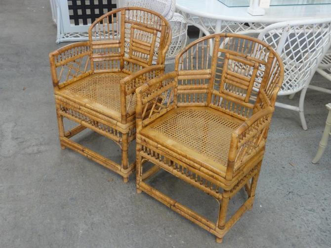 Pair of Tortoise Shell Bamboo Brighton Chairs