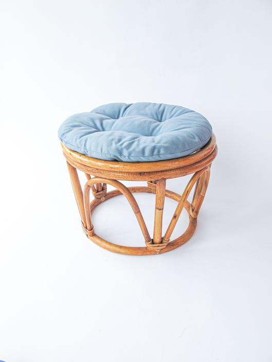 Large Vintage Woven Bentwood Bamboo Ottoman with Blue Cushion by PortlandRevibe