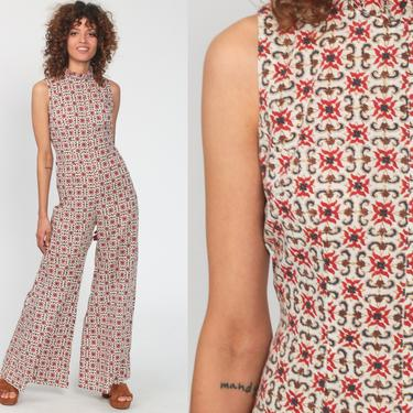 Bell Bottom Jumpsuit Geometric Catsuit 90s Does 70s Boho Party Disco Pantsuit Flared Vintage Pants Romper Summer Extra Small xs Petite by ShopExile
