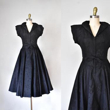 Mai 1940s taffeta velvet dress, black dress, rockabilly, 1950s dress, novelty print by ErstwhileStyle