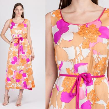 60s Hawaiian Boho Floral Wraparound Maxi Dress - One Size   Vintage Sleeveless Retro Hippie Kaftan by FlyingAppleVintage
