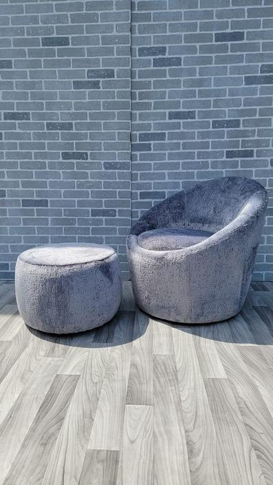 Mid Century Modern Milo Baughman Style Swivel Egg Lounge Chair and Ottoman Newly Upholstered - 2 Piece Set