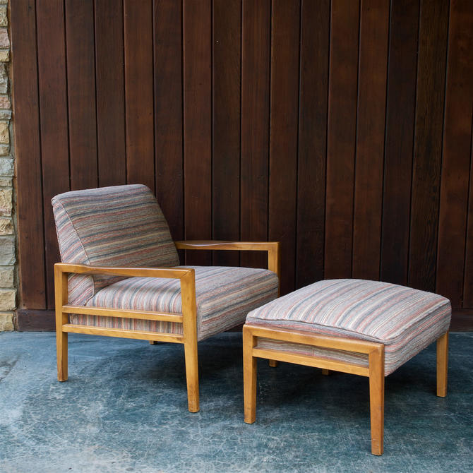 1950s Mid-Century Lounge Chair and Ottoman attributed to Russel Wright by BrainWashington