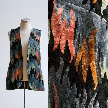 Vintage 1960s Velour Vest / 1960s Vest / Velvet Vest / Psychedelic Vintage Vest XS by milkandice