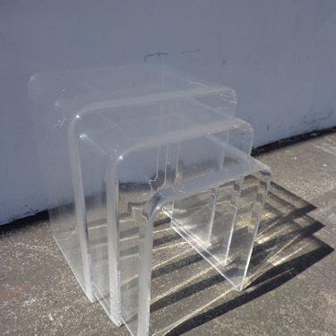 Lucite Nesting Tables Mid Century Modern Accent Side End Nightstands Waterfall Set of 3 Bedside Table Vintage Nightstand Clear Acrylic by DejaVuDecors
