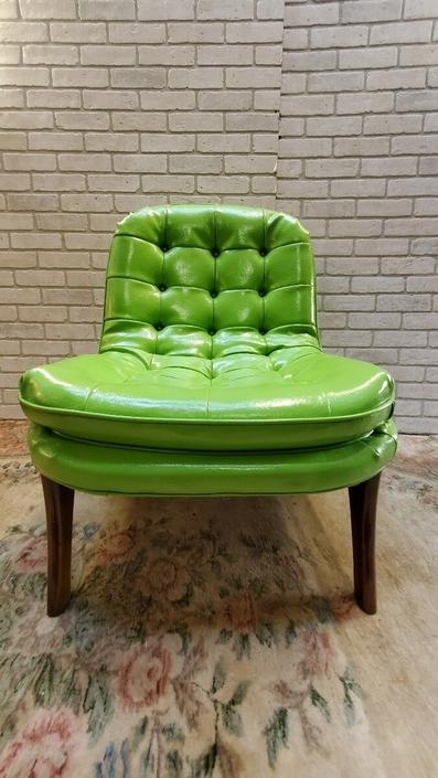 Scoop Lounge Chair Attributed to Adrian Pearsall in green vinyl