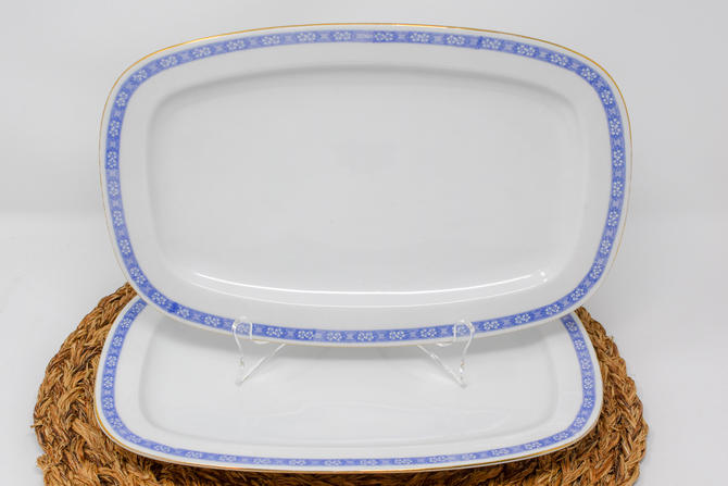 Pair of Blue Border White Platters by Schonwald by CapitolVintageCharm
