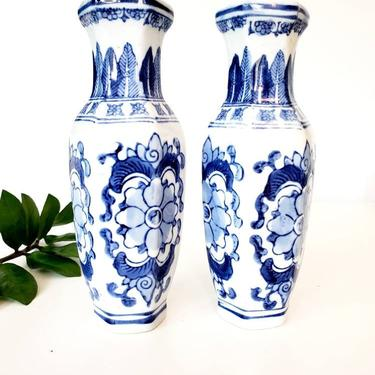 Vintage Blue & White Chinoiserie Vase Set by pennyportland
