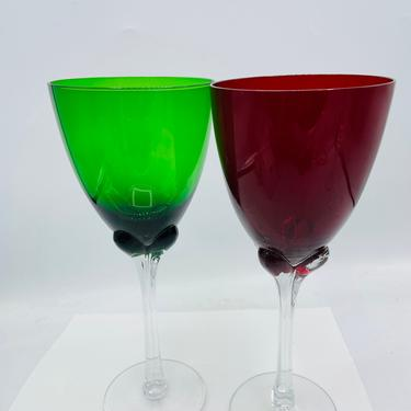 Vintage Green Red  Blown Art Glass Water Wine Goblet Glasses Set of 2 Clear Petal Stem Glassware- 16 oz by JoAnntiques
