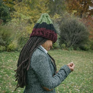 The Seven Ski Hat in Red Black & Green/Chunky Winter Hat/RBG Oversized Hat/Chunky Crochet Hat/Chunky Oversized Beanie/RBG Ski Hat by KonjoCrochet