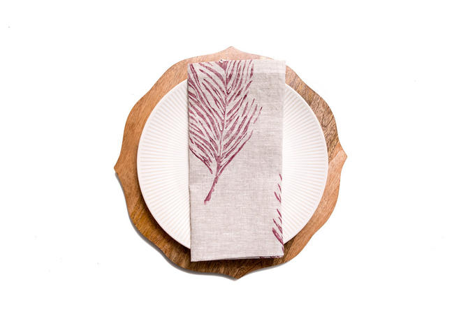 Feather Dinner Napkin in Brick on Oatmeal Linen