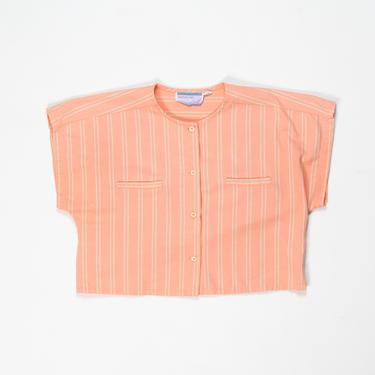 Pomello Top — vintage crop top / 70s boho bright pink striped boxy cap sleeve blouse / medium short sleeve neon orange buttoned summer shirt by fieldery