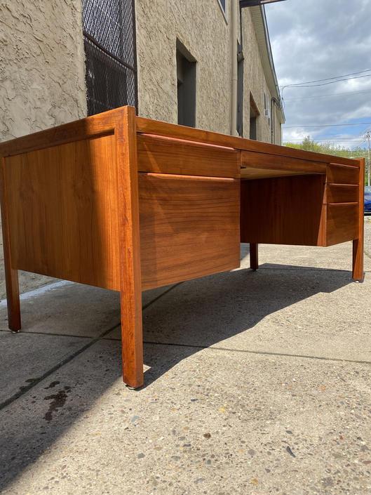 Mid century desk Danish modern desk Scandline teak desk by VintaDelphia