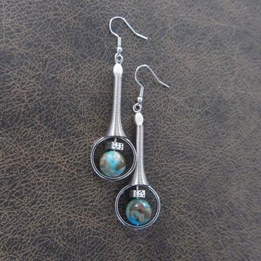 Imperial jasper earrings, modern earrings, unique statement earrings, turquoise blue earrings, contemporary chic earrings, industrial by Afrocasian