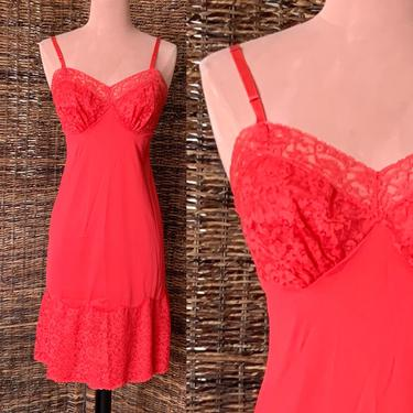 Red Nylon Lacy Slip Dress Nightie, Vanity Fair, Sweetheart, Sheer Illusion Lace, Vintage 60s Lingerie by GabAboutVintage