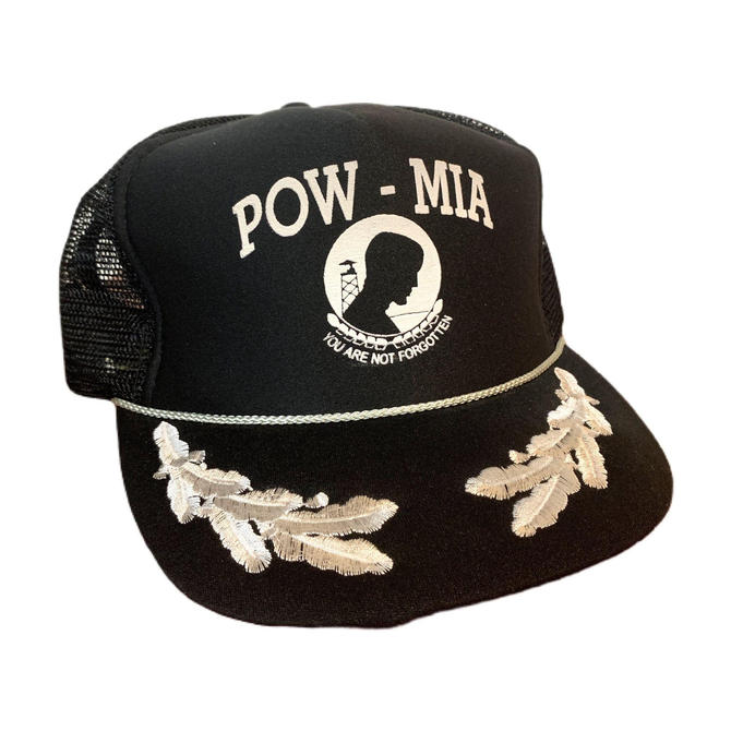 Vintage 90s POW MIA Trucker Hat Scrambled Eggs Black and Silver Snapback by OverTheYearsFinds