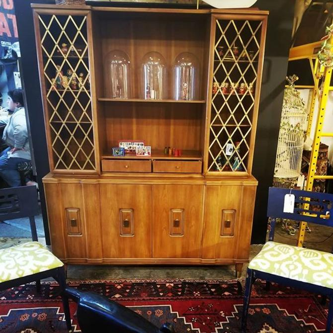 Mid Century Hutch with brass lattice detail. Manufactured by John Widdicomb (5ft wide, 20 inches deep, 74ft 5 inches high)