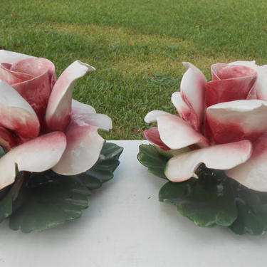 Vintage Pair of Capodimonte Italian Porcelain Pink White Rose Floral Flowers Candle Holders Made in Italy Ceramic Taper Candlestick Holders by kissmyattvintage