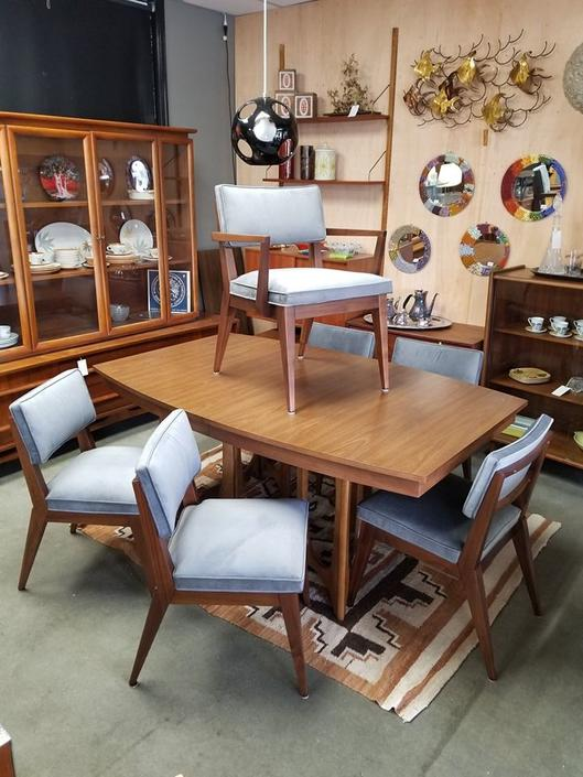 Set of 6 Mid-Century Modern walnut dining chairs with new grey upholstery