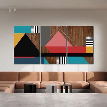 Modern Wall Art, Geometric Art, Abstract, Multi Panel Art, Large Wall Art, Wood Wall Art, Mid Century Modern, Metal Art, Abstract Painting by LauraAshleyWoodArt
