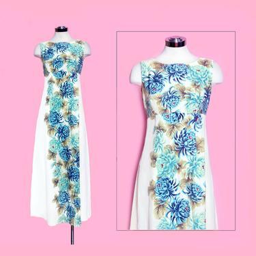 Vintage Blue Hawaiian UI MAIKAI Tiki Dress, 1960s, Bark Cloth, Blue Floral, Hawaii, Watteau Fall Back, Women's Vintage Long Dress, 50's by Boutique369