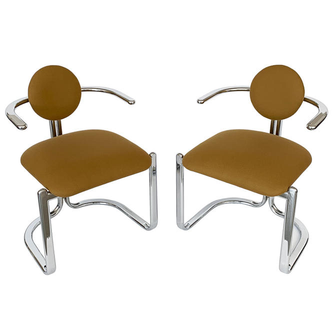 Pair Gastone Rinaldi Chrome Chairs