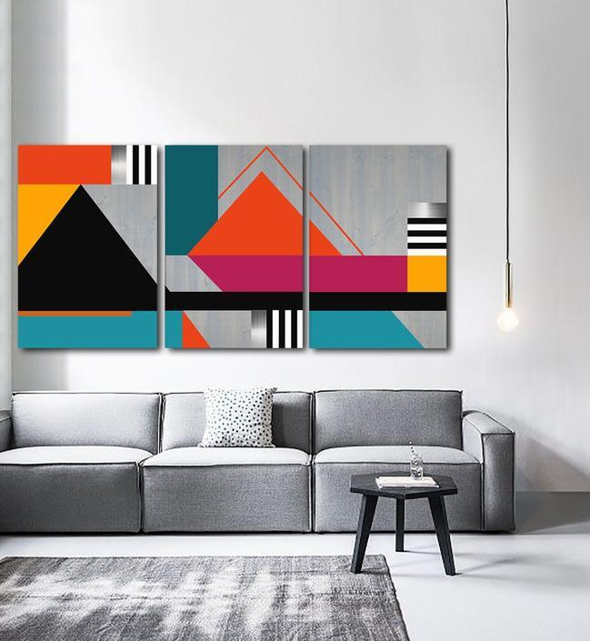 Large Wall Art, Wood Wall Art, Modern Wall Art, Geometric Sculpture, Abstract, Multi Panel Art, Mid Century Modern, Metal Art Painting by LauraAshleyWoodArt