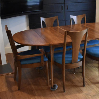 """Newly-restored Broyhill Brasilia extendable dining set - 96"""" long (table, three leaves, six chairs) by MidCenturyClever"""